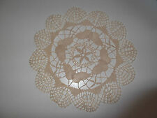 "NEW ** 100% COTTON HAND MADE CLUNY / BOBBIN LACE PLACEMAT** BEIGE ** 10"" ROUND."