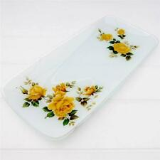 Vintage Glass Sandwich Cake Serving Plate Platter Yellow Roses