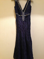 WAREHOUSE Midnight Blue 100% Silk Sequin Evening Cocktail Dress UK 8