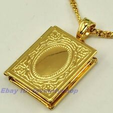 "1.26""5g ALLAH BOOK OPEN CHARM 18K YELLOW GOLD PLATED 23.6"" NECKLACE GEP PENDANT"