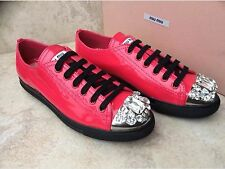 New Miu Miu Prada Crystal Cap Toe Patent Leather Sneakers.Sz.38.Org.$695