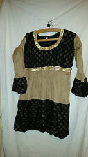 LOVELY VINTAGE RETRO ? ASIAN WEDDING ? DRESS/TOP BLACK/GOLD SEQUINS 38 CHEST