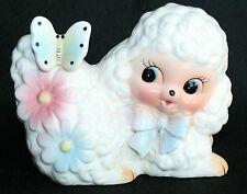 Vintage Shabby Cottage Chic Lamb poodle Butterfly Baby Shower Planter Decoration