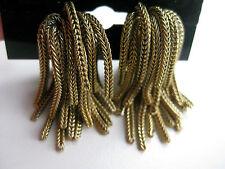 Vintage Signed Napier Foxtail Chain Fringe Clip Earrings Book Piece p. 227 1950s