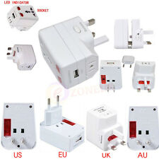 Universal Travel Adapter and USB Charger UK EU US AU Plug with USB Power Adaptor