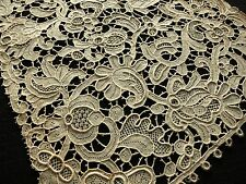 "49"" Dress Insert/Panel? Antique 19thC Venetian ROSE POINT NEEDLE LACE Circlets"