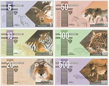 Russia 5 10 20 50 100 500 Rubles 2015 NEW Wildlife Fantasy Banknote Set - 6 pcs
