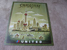 UNITED AIRLINE SHANGHAI TRAVEL POSTER 2001 TIM ZELTNER ORIGINAL UAL ISSUE