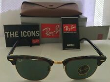 Ray-Ban RB 3016 W0366 Clubmaster Mock Tortoise / Green Crystal Lens 51mm