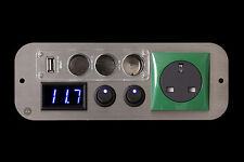 Peugeot Partner Campervan Green 240v,12v Switches,3 Way USB Voltmeter
