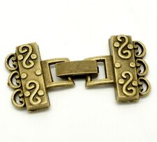 Antiqued Bronzed Alloy Scrolled 3-Strand Textured Fold-Over Bar Clasp 1 set