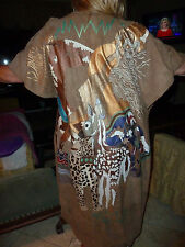 Kanes Handpainted Suede Wearable Art Coat  One of a Kind Exotic Animals HELP??
