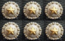 "Set of 6 WESTERN SADDLE ANTIQUE GOLD STAR BERRY CONCHOS 1-1/2"" screw back CONCHO"