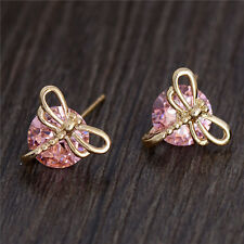 Lovely 18k Gold Filled Dragonfly colorful cubic zirconia women's Stud Earrings