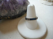 Sterling Silver 925 Judith Jack Marcasite Blue Enamel Band Ring  RE2519