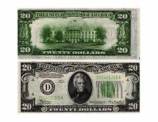 1934 $20 Federal Reserve Note ERROR NOTE Printing Shift D-A Blk FR#2054-D UNC-