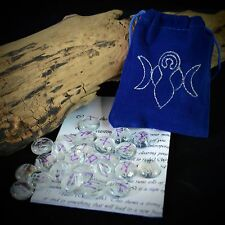 25 GLASS RUNE STONES & BLUE  BAG Wicca Pagan Witchcraft Runes Goddess & Moon