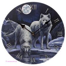 Wanduhr Bilderuhr Uhr Deko - Winter Krieger Wolf Wölfe im Schnee bei Vollmond