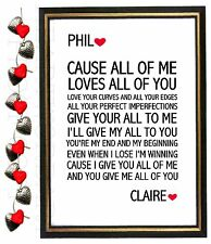 Valentines Day Gift Personalised Him Her LYRICS Word Art John Legend 'All of me'