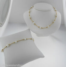 """14K Yellow Gold Fancy Fresh Water Cultured Pearl 18"""" Necklace With 7"""" Bracelet"""
