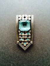 VINTAGE ART DECO SILVER DRESS CLIP GLASS TURQUOISE STONE MARCASITE