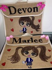 GIRLS /BOYS PERSONALISED  SCHOOL BOOK BAGS ANY NAME ANY UNIFORM AND STYLE GIFT