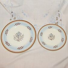 EMPIRE BRAMHALL ANTIQUE PLATES 2 SALAD BREAD BLUE GOLD BROWN ENGLAND RARE CHINA