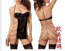 Sexy Wet Look Mini Skirt Bandeau Top Lingerie Set Flirty Kitten Costume R048