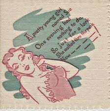40's 50's Vintage VARGAS PIN-UP GIRL dirty limerick paper cocktail napkins (4)