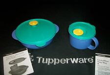 Tupperware CrystalWave ~Lunch 'n Dish w/ cold cup ~Soup Mug Microwave Vent