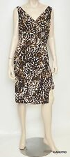 Nwt $134 Ralph Lauren V-Neck Leopard Matte Jersey Dress Top ~Brown/Navy *12