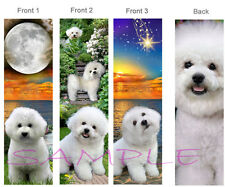 3-BICHON FRISE BOOKMARK White Dog puppy BOOK Card Figurine ORNAMENT Pup Maltese