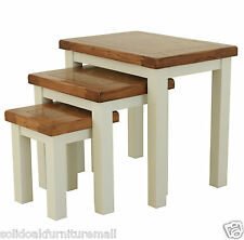 Stone Color Painted Solid Oak Nest of 3 Tables Coffee/Nesting/Lamp Three Tables