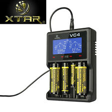 XTAR VC4 LCD Screen USB Battery Charger For 18650 26650 32650 14500 AA AAA FCC