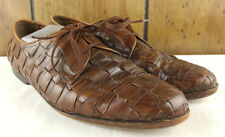 BRAGANO by COLE HAAN Men's Brown Woven Leather Penny Loafers Dress Shoe Siz