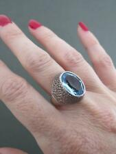 Vintage Aquamarine Paste Silver Modernist Ring Mid Century