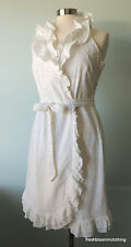 Lilly Pulitzer 12 Dress White Eyelet Wrap Ruffle fits 8 10 Beach Wedding