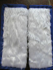 Lightly padded Faux White Fur, Car Seat Belt Cover Pads. Blue Trim. X2