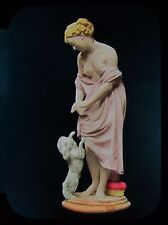 Glass Magic Lantern Slide STATUE OF LADY WITH POODLE C1890 PHOTO