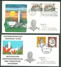 FRANCE 2 rare covers ONU UNO cancel postmark 1985 Tours & session NY Genève 1985