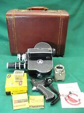 Movie camera 16mm film Paillard Bolex H16 Reflex  3 lenses filters film case