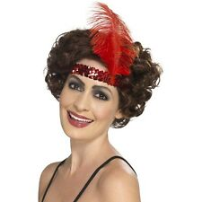 Women's 20's 30's Charleston Lady Fancy Dress Flapper Red Headband & Feather
