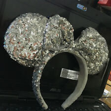 New Disney Parks Minnie Mouse Silver Bow Sequins Ear Headband Costume Party RARE