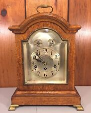 Antique Junghans Bracket Clock Unique Oak Case Runs Strikes Chimes