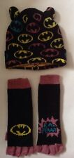 Girls Batman Beanie Hat & Long Length Fingerless Gloves Set