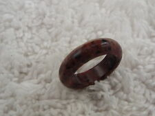 Brecciated Red Jasper Stone Band Ring - Size 5 (D47)