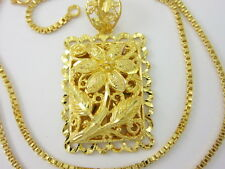 "GORGEOUS 20"" Chain & Flower Detail Pendant 22K 24K Gold GP Baht Thai Necklace"