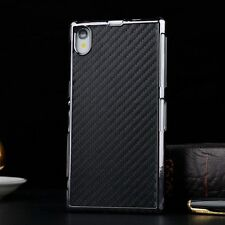 Black For Sony Xperia Z3 Carbon Fiber Leather Skin Back Cover Hard Protect Case