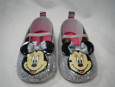 DISNEY BABY MINNIE MOUSE MARYJANE SILVER CRIB SHOES GIRLS BABY/INFANT SIZE 2