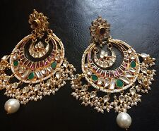 18k on4k Real gold Like Kundan Jhoomer Chandbali Heavy Earring  Amrapali Bridal